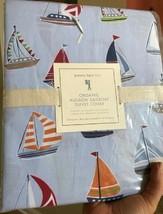 Pottery Barn Kids Hudson Sailboat Duvet Cover Blue Queen Nautical Boat N... - $108.68