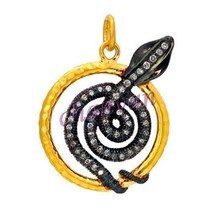 Twisted Snake Antique Look Rose Cut Diamond 925 Silver Gift Pendant CSJU... - $2.874,75 MXN
