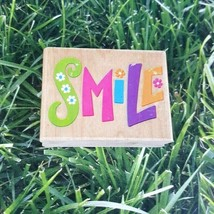 Rubber Stampede Smile Flowers Rubber Stamp Wooden Mounted  - $9.40