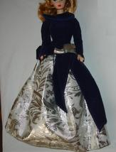 Barbie doll formal gown dress blue velvet and silver - $9.99