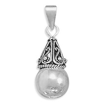 Sterling Silver Pendant with Bali Cap and Bead - $27.95