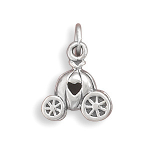 Sterling Silver Pumpkin Carriage Charm with Heart