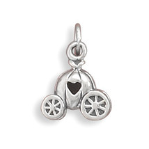 Sterling Silver Pumpkin Carriage Charm with Heart - $22.99