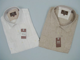 NEW $165 Hickey Freeman Linen Oxford Shirt!  White or Tan (Light Brown) - $64.99