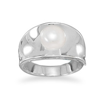 Concave Sterling Silver Band Ring with Cultured... - $56.99