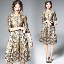 Temperament lapel lace embroidery sequined Sequin A-line fashion dress - $59.00