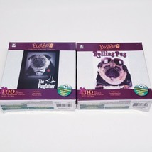 "2 Pug Dog Puzzles (Puggo Collection) ""The Pugfather"" and ""Rolling Pug Ma... - $18.70"