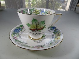 Porcelain Bone China Teacup Royal Stafford Cup & Saucer floral emblems CANADA - $20.00