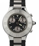 Cartier Must 21 Chronoscaph 2424 Chronograph 38mm W10125U2 Steel Rubber ... - $1,693.61