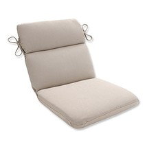 Pillow Perfect Indoor/Outdoor Beige Solid Chair Cushion, Rounded - £42.98 GBP
