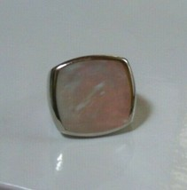 Signed JS Stainless Steel Mother-of-Pearl Ring Size 7 - $17.81