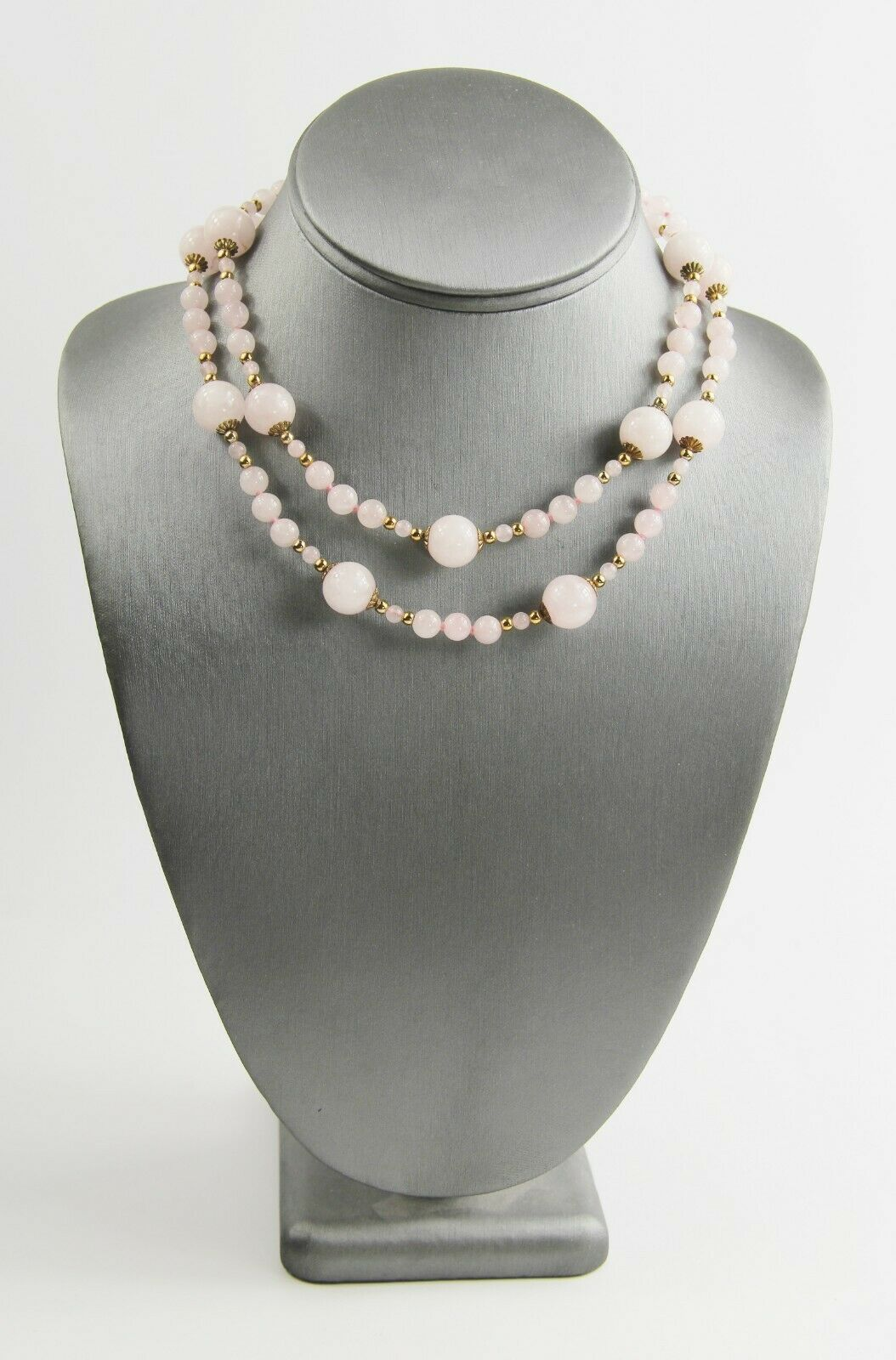 "30"" VINTAGE ESTATE Jewelry CHINESE EXPORT ROSE QUARTZ BEAD STRAND NECKLACE"