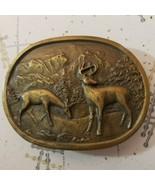Indiana Metal Craft Deer Buck Mountains Brass Belt Buckle Hunting Vintage - $24.75