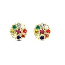 Round Cut Multi Stone Women's Navratna Stud Earrings 14k Gold Plated 925 Silver - $55.25