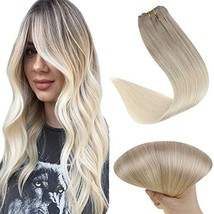 Easyouth Clip in Remy Hair Extensions Balayage Color 18 Ash Blonde Fading to 60
