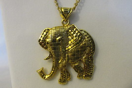Vintage Elephant Pendant Necklace - Multi Textured Gold Toned on Long Chain - $14.99