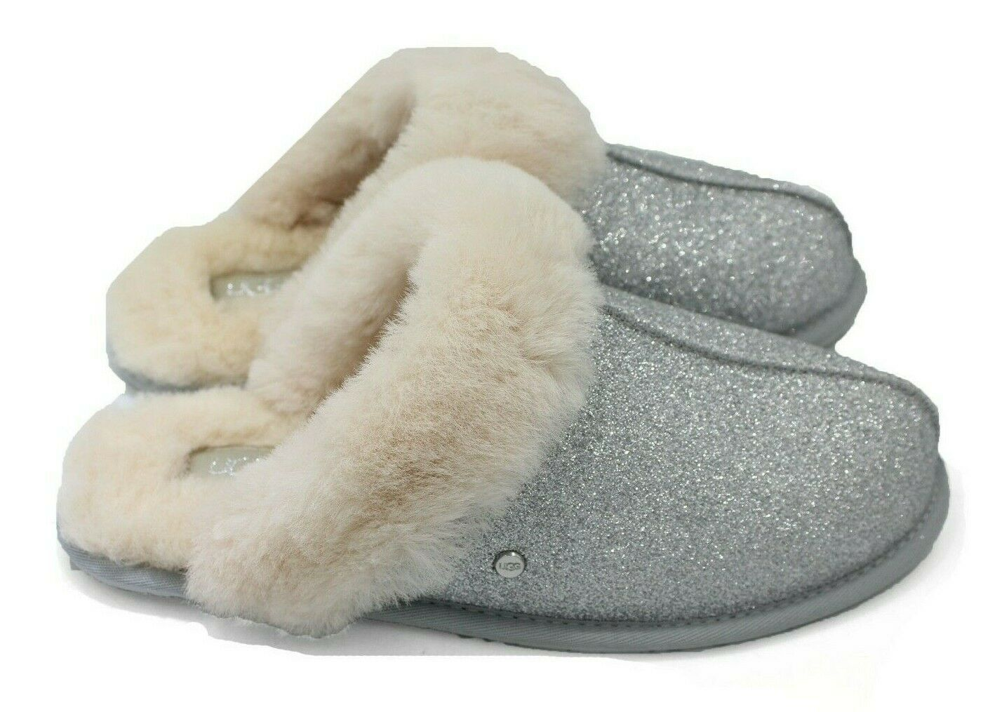 Primary image for UGG Scuffette II Sparkle Women Sheepskin Slippers Silver NEW Authentic