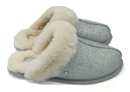 UGG Scuffette II Sparkle Women Sheepskin Slippers Silver NEW Authentic