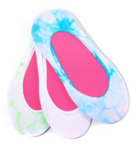 Hue Women's Hidden Liner Socks Assorted Neon Tie Dyed One Size 3 Pair Pack