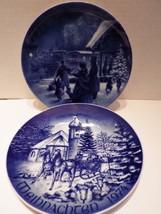 (2) Christmas Plates Bareuther Hinterzarten & Kaiser Coming Home Blue 19... - $14.84