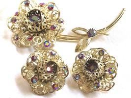 Gold Tone Aurora Borealis Sarah Cov Coventry Flower Pin Brooch & Clip Earrings - $61.38