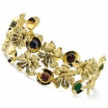 18K YELLOW GOLD BRACELET, RIGID, BANGLE, FINELY WORKED FLOWERS, CABOCHON STONES image 2