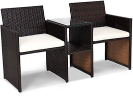 Brown Rattan Patio Sofa Set Outdoor Garden Double Seat With Tea Coffee T... - $157.66