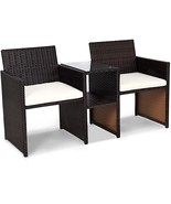 Brown Rattan Patio Sofa Set Outdoor Garden Double Seat With Tea Coffee T... - $157.66