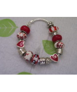 Lovely Red and White Charmed Silver Bracelet - $12.00