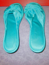 Vintage VANITY FAIR Size S SLIPPERS Satin TURQUOISE Boudoir HOUSE SHOES ... - $14.28