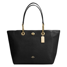 NWT COACH PEBBLED LEATHER TURNLOCK CHAIN TOTE IN BLACK - $210.48