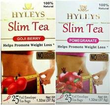 Hyleys 100% Natural Slim Tea Goji and Pomegranate Flavor (25 Teabags each) - $10.99