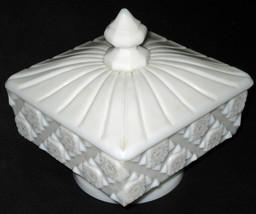 Vintage 1940s Art Deco Westmoreland Milk Glass Pedestal Candy Dish w Lid - $14.00