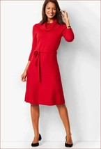 new TALBOTS women sweater dress belted CN4931 cotton blend red sz L - $39.04