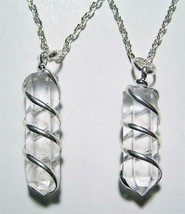 CLEAR QUARTZ COIL WRAPPED STONE 18 INCH SILVER LINK CHAIN NECKLACE rocks... - $6.60