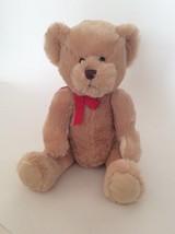 "HALLMARK light brown TEDDY BEAR W/ RED BOW 15"" plush - $14.01"