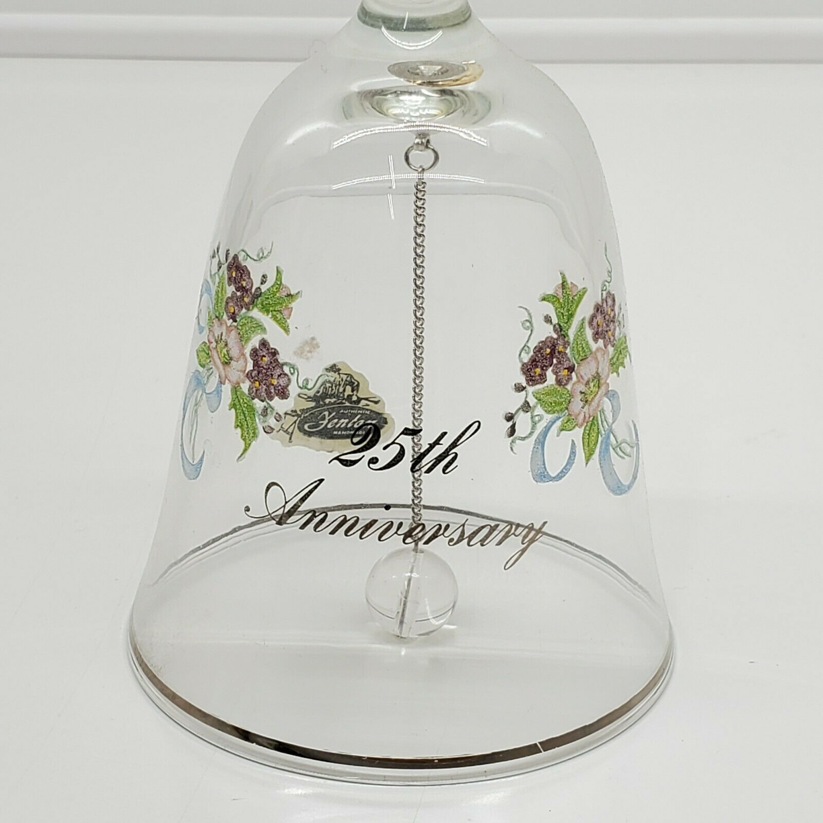 Primary image for Vintage FENTON bell hand painted, floral 25th anniversary gift (eo)
