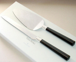 Vera Wang With Love Noir Cake Knife & Server 2 PC Black Enamel/Silverpla... - $38.90