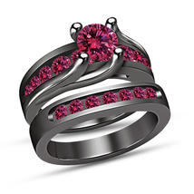 Pink Sapphire Women's Engagement Unique 925 Silver Band Wedding Ring Set... - $98.89