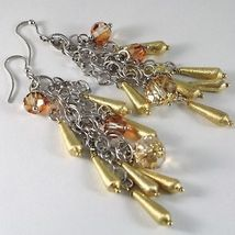 925 STERLING YELLOW SILVER PENDANT EARRINGS MULTI WIRE DROPS AND ORANGE CRYSTAL image 3