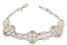 10k Gold Filigree / Art Deco Genuine Rock Crystal Bracelet w/ Diamonds (... - $997.50
