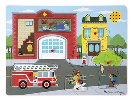 Melissa & Doug Wooden Sound Puzzle (8 pc) Around the Fire Station - $19.39