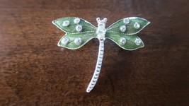 Vintage Dragonfly Enamel Rhinestone Green Silver Brooch 5cm - $16.63