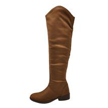 Qupid Plateau 183BX Cognac Women's Casual Faux Suede Knee High Boot - $41.95