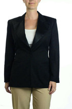 Sz 6 ABS Allen Schwartz California Wool Single Button Black Tuxedo Jacke... - $39.59