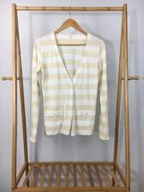 J.Crew Women's White Beige Striped Light Button Cardigan Sweater Size XS - $12.03 CAD