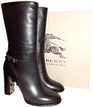 $1395 Burberry Marling Black Leather Gold Check Equestrian Boot 38.5- 8 ... - $525.00