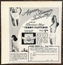 1952 Ward Green Co PRINT AD Tummy Flattener Detachable Garters Woman Bra... - $7.82