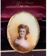 Vintage Antique French Porcelain C Catch Portrait Brooch Victorian Woman - £64.58 GBP