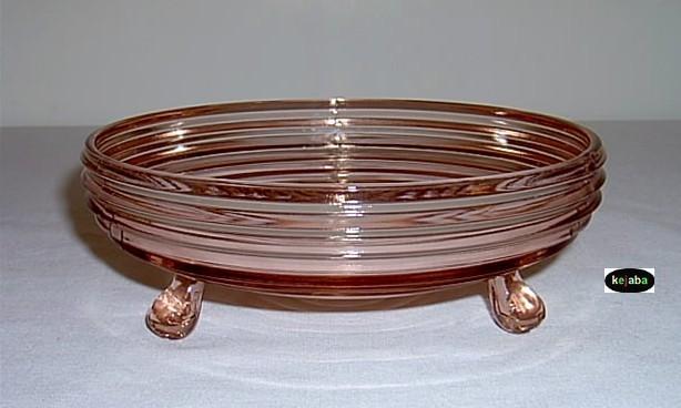 Manhattan Pink Candy Dish 3 Footed Hocking